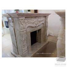 Amasya Antique Beige Marble Fireplace