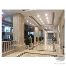 Amasya Beige Marble Flooring, Pillar and Railing