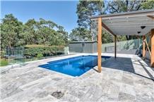 Silver Blue Travertine Pool Terrace Pattern