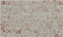 Pink and White Travertine Split Face Stone Feature Wall Panels