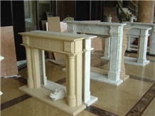 Hand Carved Indoor Marble and Limestone Fireplace