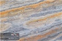Silver Gold Travertine Slab, Tile