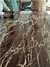 Dynamic Reddish Brown Gold Marble Slabs
