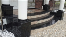 Outdoor Deck Stairs, Absolute Black and Shivakasi Ivory Granite Stairs