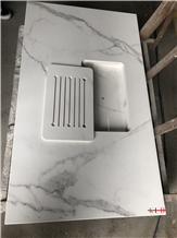 Calacatta White Quartz Sintered Stone Desk Top Sink