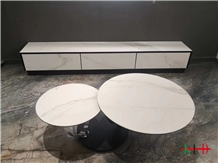 Polish White Sintered Stone Round Table Top Design