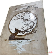 Water Jet Cut Square Art Medallions Deer Pattern