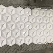 White Marble Cnc Carved 3d Design Sculpture Tiles