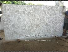 White Semiprecious Stone Slabs Crystal Brazilian for Hotel