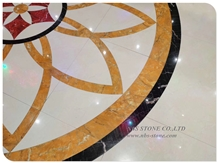 Yellow Siena Water Jet Cut Marble Medallion