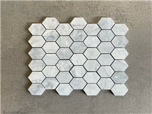 Super White Marble Polished Hexagon Mosaic Tile
