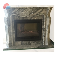 Green Marble Indoor Wood Burning Fireplace