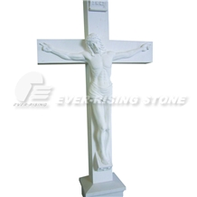 White Marble or Granite Crucifix Cross Statue