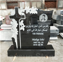Etched Black Cross and Rose Monuments,Tombstones