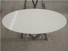 Bianco Carrara White Quartz Oval Coffee Table Tops