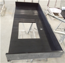 Black Artificial Quartz Vanity Countertop Bath Top