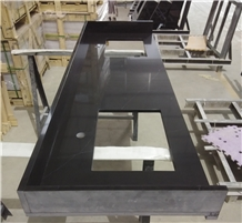 Black Quartz Bathroom Double Sink Vanity Tops