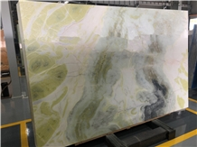 China Ink Painting Spring Dream Green Marble Slabs