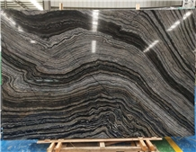 Chinese Silver Wave Zebra Black Marble Slabs Tiles