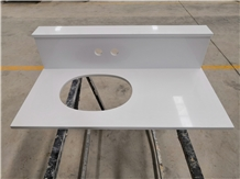 Custom Pure White Quartz Hotel Bath Vanity Tops