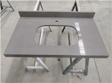 Vietnam Hotel Grey Quartz Bathroom Vanity Tops