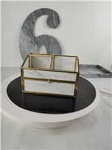Carrara White Marble Jewelry Boxes Hand Works