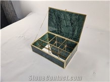 Indian Green Marble Jewelry Boxes Gift Article