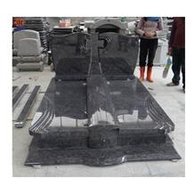 China Factory Indian Black Jet Black Granite Tombstone