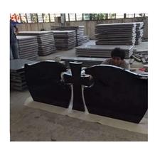 Shanxi Black Granite Cross Shape Double Headstone