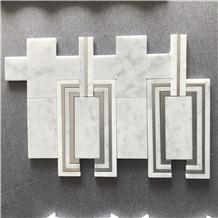 Italy Calacatta Carrara Waterjet Marble Mosaic