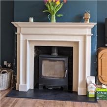 Rosal B Limestone Fireplace Mantel