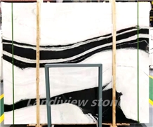 Panda Landscape Paintings Black White Marble Slabs