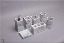 Marble Stone Lotion Bottle Bathroom Gargle Set