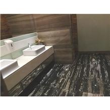 China Guangxi Black Marble Flooring Tiles