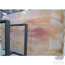 Dora Yellow Wooden Marble Slabs and Tiles