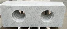 Polished Carrara White Marble Bathroom Vanity Top
