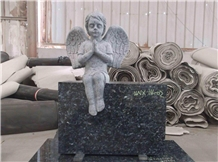 Blue Pearl Granite Angel Baby Child Tombstone