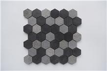 China Black Basalt Hexagon Mosaic Tile Wall Panel