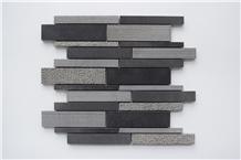 China Black Basalt Liner Strip Mosaic Wall Tiles Panel