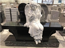 China Black Granite Carved Angel Bench Tombstone for Memories