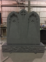 Impala Black Granite Cross Design Double Tombstone