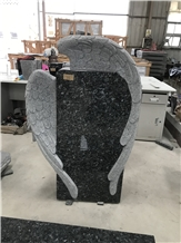 Norway Blue Pearl Granite Handcarved Eagle Tombstone Headstone