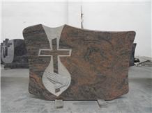 Real Factory Tropical Aurora Granite Cross Tombstone,Headstone