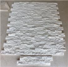 Glacier White Marble Split Face Ledger Panel