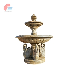 Beige Garden Water Fountain with Swan Carving