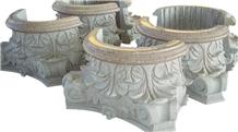 China Gray Granite Column Cap Hollow