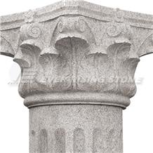 China Pink Gray Granite Column Cap