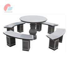 Granite Round Table with Curved Chair Sets
