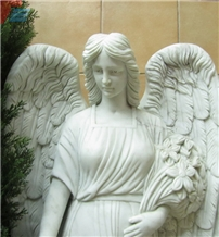 Handcarved White Marble Angel Sculpture