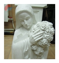White Marble Carved Maria Holding Roses